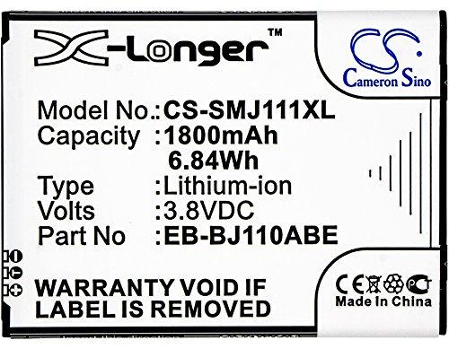 Cameron Sino 1800mAh Li-ion High-Capacity Replacement Batteries for Samsung Galaxy J1 Ace 3G Duos, Galaxy J1 Ace Dual SIM 3G, Galaxy J1 Ace, SM-J110, fits Samsung EB-BJ110ABE -  5823816103
