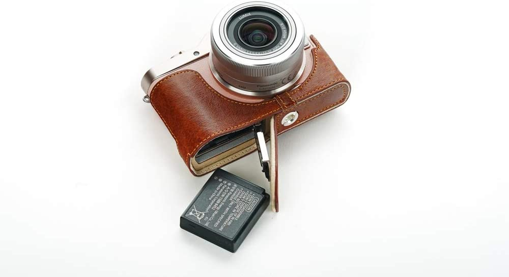Handmade Genuine Real Leather Half Camera Case Bag Cover for Panasonic GF10 Sandy Brown color