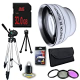 DM Optics 2X Telephoto Lens with 3 Piece Filter Kit and Tripod + 32GB SDHC Memory Card for Samsung HMXH100 HMXH104 HMXH105 HMXH106 Camcorders DavisMAX Accessory Bundle