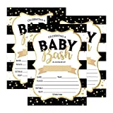 25 Black Gold Bash Baby Shower Invitations, Cute Printed Fill or Write In Blank Invite for boys or girls, Printable Shabby Chic Unique Custom Vintage Coed Twin Sprinkle Party Card Stock Paper Supplies