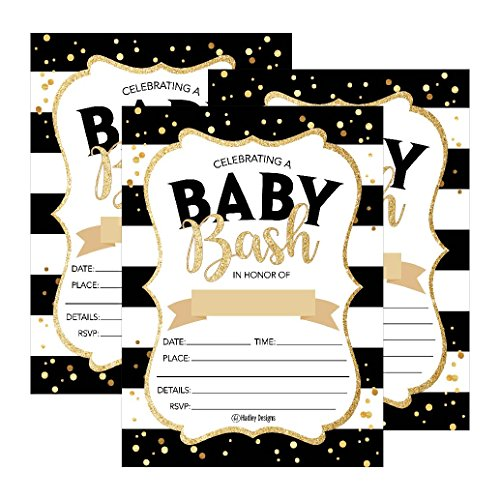25 Black Gold Bash Baby Shower Invitations, Cute Printed Fill or Write In Blank Invite for boys or girls, Printable Shabby Chic Unique Custom Vintage Coed Twin Sprinkle Party Card Stock Paper Supplies ()