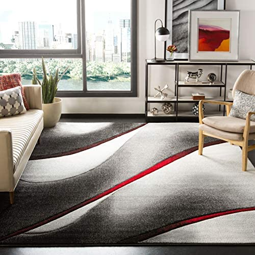 Safavieh Hollywood Collection HLW712K Grey and Red Mid-Century Modern Abstract Area Rug 8' x 10'