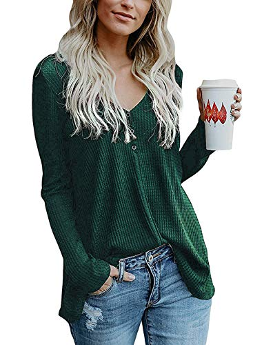- ALALEI Womens Long Sleeve Henley Blouse Fall Button Down Pullover Knit Loose Leisure Stylish Sexy Knit Sweaters Tops (Medium, Deep Green-3)