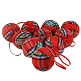 WEWILL 2.36' (60mm) Red Plaid Ball Christmas Ornament Party Decoration,Set of 10 (Style 2)