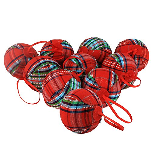"""WEWILL 2.36"""" (60mm) Red Plaid Ball Christmas Ornament, used for sale  Delivered anywhere in USA"""