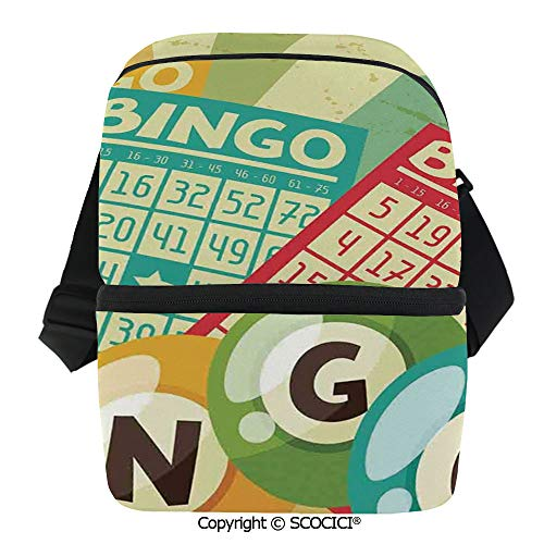 SCOCICI Insulated Lunch Cooler Bag Bingo Game with Ball and Cards Pop Art Stylized Lottery Hobby Celebration Theme Reusable Lunch for Men Women Heat Insulation,Heat Protection