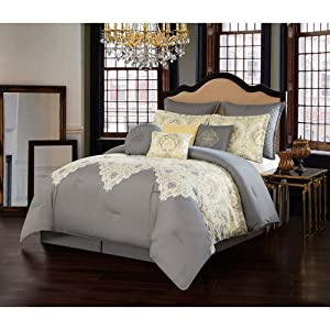 V19.69 Italia CS1720GYQN10-13 Comforter Set, Queen, Milano Yellow/ Grey