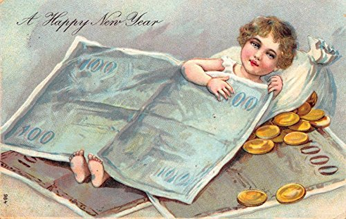 New Year Postcard Little Girl Sleeping Under Paper Money Bag of Gold Coin~113820