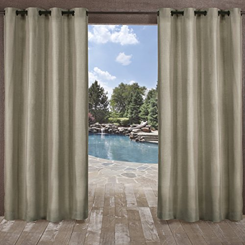 Exclusive Home Biscayne Indoor/Outdoor Two Tone Textured Window Curtain Panel Pair with Grommet Top, 54x108, Natural, 2 Piece (Pottery Outdoor Curtains Barn)