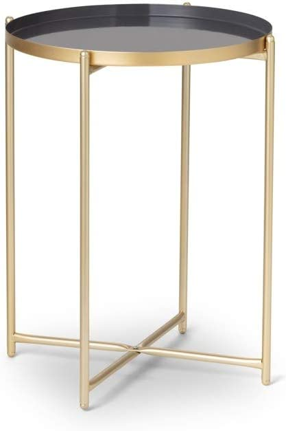 Hoge Kwaliteit LIFA LIVING 2x salontafel modern design groen 2x goud metaal shabby stijl 2x koffietafel decoratie voor keuken en woonkamer Confezione Da 2 - Grigio nkcWids