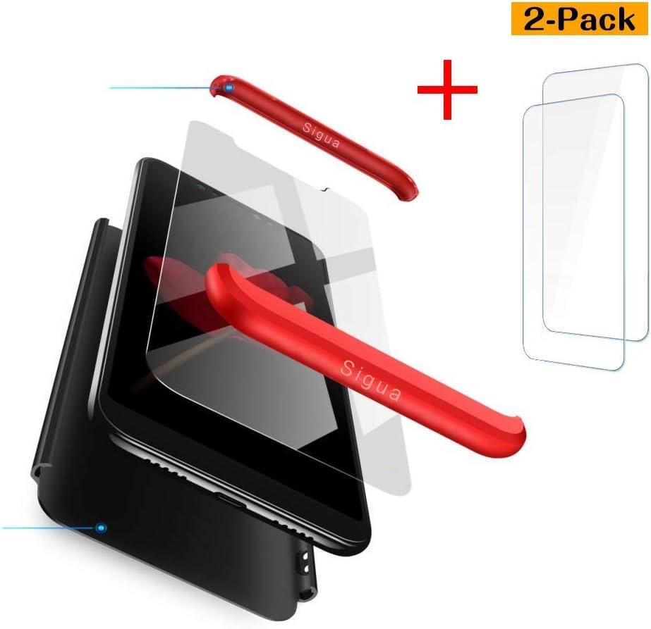 3 in 1 Slim Fit Caso Carcasa 360 /°de Protectora A Prueba de Golpes Anti-Huella Digital-Rojo /& Negro Fundas con 2X Cristal Templado sigua Funda Redmi Note8 Compatible para Xiaomi Redmi Note8