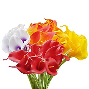 10x Artificial Calla Lily Flowers for Wedding Bridal Bouquet Home Decorations Indoors Outdoors 7