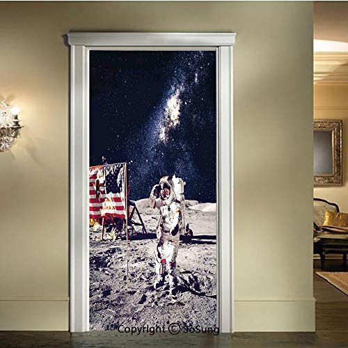 baihemiya 3D Door Mural Wallpaper Stickers,American-Cosmonaut-with-USA-Flag-on-Moon-Digital-Pilot-Space-Discovery-Photo,W30.3xL78.7inch,Self-Adhesive Wall Door Stickers DecorGrey-Dark-Blue
