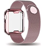 AdMaster Compatible for Apple Watch Band 38mm, Stainless Steel Mesh Milanese Sport Wristband Loop with Apple Watch Screen Protector Compatible for iWatch Series 1/2/3 Rose Gold