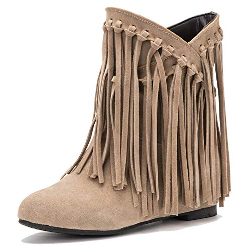 fereshte Women's Suede Tassels Fringe Hidden Wedge Heel Ankle Boots Slip-on Bootie Apricot US8
