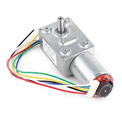 DC Worm Gear Motor 12V High Torque Reduction Gear Box with Encoder Srong Self-locking 6mm Output Shaft(100RPM)