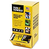 """Tub O Towels Heavy-Duty 10"""" x 12"""" Size Multi-Surface Cleaning Wipes, 100 Individually Wrapped and Solution Soaked On-The-Go Wipes in Gravity Feed Dispenser"""