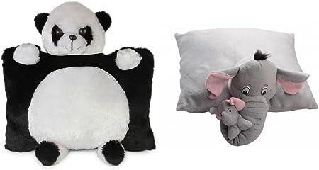 Deals India Panda Pillow and Grey Elephant Pillow (40 cm, Pack of 2)