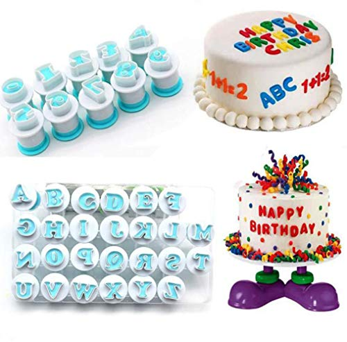 Nuoda 3 Pack DIY Letters Numbers Cake Mould Fondant Sugar Craft Cookies Plunger Cutter Mold Decorating Tools (3 Set of Number and Letters)]()