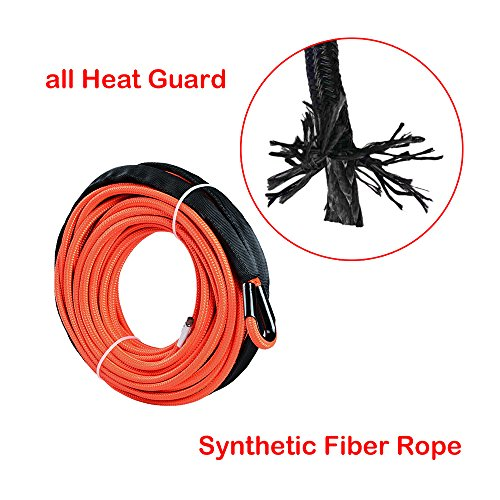 Astra Depot 50 x 1//4 Strong Durable Orange Synthetic Winch Rope Cable 7000 LBS Rock Guard Heat Guard Off Road ATV UTV KFI Car Truck