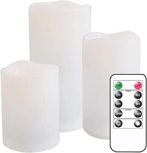 Eldnacele Flameless Flickering Waterproof Candles All Weather Battery Operated LED Candles with Remote Control and Timer Heat Reistant Candles for Outdoor Indoor Decoration