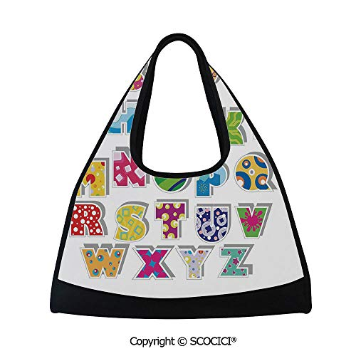 Tennis racket bag,Full Set of Alphabet with Various Designs Abstract Dots Squares Splashes Pattern Decorative,Multi Functional Bag (18.5x6.7x20 in) Multicolor