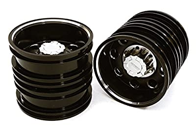 Integy RC Hobby C27023BLACK Billet Machined Alloy Rear Dually Wheel Set for Tamiya 1/14 Scale Tractor Trucks