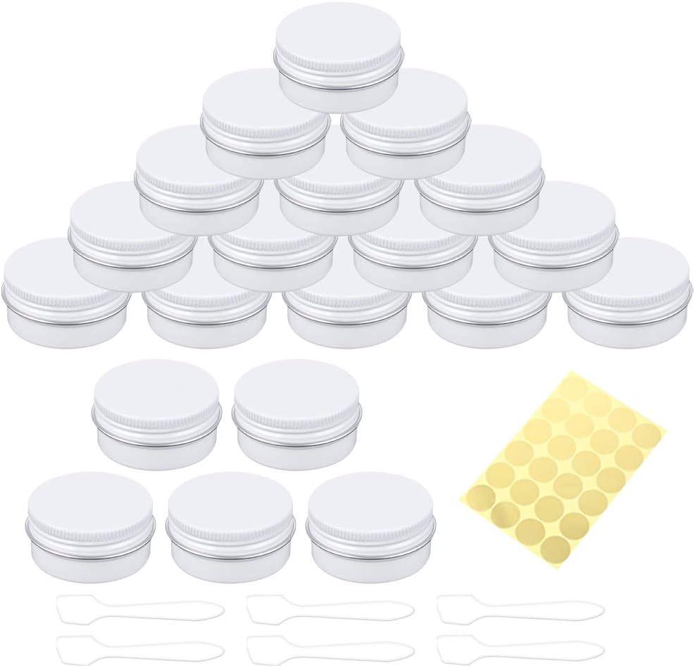 Petits Bijoux Hnmedia Lot de 20 Pots en Aluminium avec couvercles /à Visser pour cr/ème Mini Bougies 1 Feuille dautocollants et 6 Mini spatules 30 ML Poudre /à Ongles