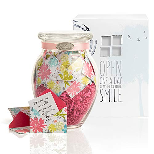 KindNotes Glass Keepsake Gift Jar with MOM Messages (from Child to Mother) - Refreshing Floral