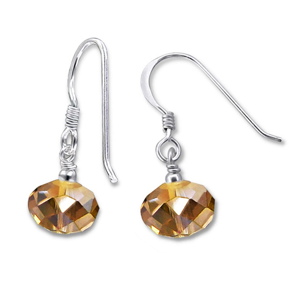 Round Faceted Beads Crystals Sterling Silver Dangle Drop Earrings Girls