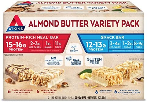 Atkins Almond Butter Meal and Snack Bar Variety Pack. Gluten-Free, Light and Crispy Protein Fiber Bars Made with Real Almond Butter 4 Flavors, 24 Bars