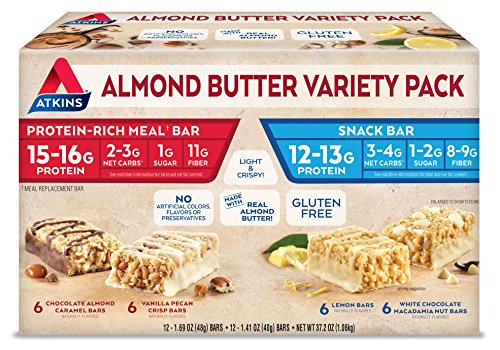 Atkins Almond Butter Meal and Snack Bar Variety Pack. Light and Crispy Protein & Fiber Bars Made with Real Almond Butter (4 Flavors, 24 Bars). ()