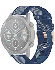 TSX AYY 22mm Stripe Weave Nylon Wrist Strap Watch Band for Huawei GT / GT2 46mm, Honor Magic Watch 2 46mm / Magic (Grey) (Color : Blue)