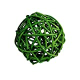 "Custom & Fancy {4"" Inch} Approx 90 Pieces of Large Round Ball ""Table"" Party Confetti Made of Premium Rattan w/ Modern Chic Natural Look Simple Plant Stem Twig Nest Scatter Filler Design [Green]"