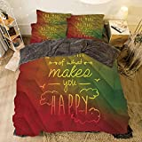 Whats an Eastern King Bed All Season Flannel Bedding Duvet Covers Sets for Girl Boy Kids 4-Piece Full for bed width 6.6ft Pattern by,Inspirational,Do More of What Makes You Happy Hand Written Quote Encourage Digital Display
