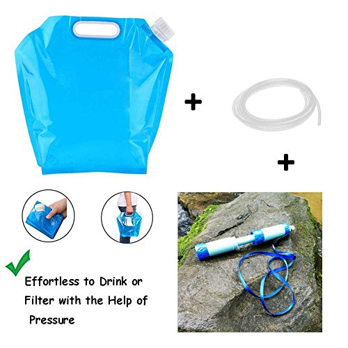 Journey Water Purifier (Personal Water Filter + 10 Litres Collapsible Water Container BPA Free, Food Grade, Self-standing, Freezable Plastic Water Bag Carrier, Outdoor Folding Water Tank for Camping Riding)