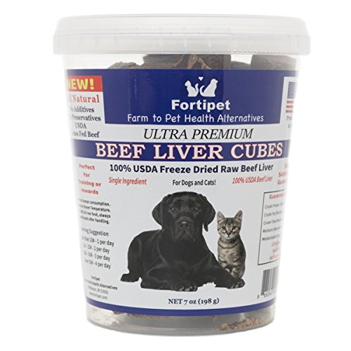 - Fortipet Freeze Dried Raw Liver Healthy Dog and Cat Training Treat Supplement, Best USDA Grass Fed Beef, 7 Ounces