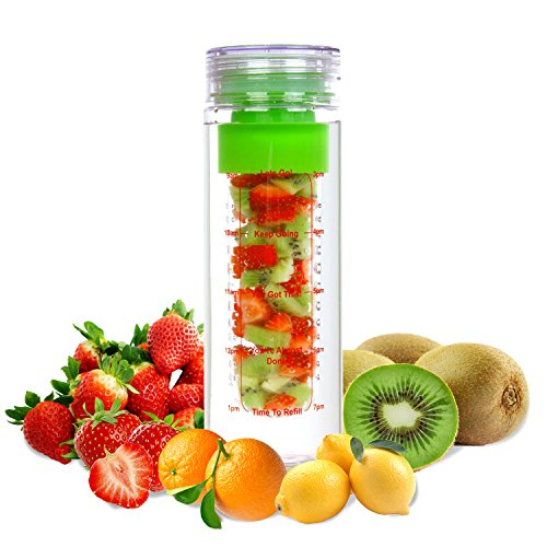 LA Organics Fruit Infuser Water Bottle - 100% Leak Proof and BPA Free - Fruit Infused Water Bottle Comes with Bonus Infusion Recipe Ebook