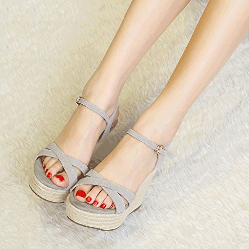 Femmes D'été De Chaussures Confortables Sandales Plate-forme De Coin Rétro Bout Ouvert Talons Hauts (couleur: 9cm Gris, Taille: 39) 12cm Gris