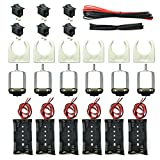 EUDAX 6 Set Small DC Motor Mini Electric Hobby Motors 1.5V-3V 15000RPM with 2x1.5V AA Battery Holder Case,Motor Bracket,Rocker Switch and 12Pcs 25cm Electronic Wire for DIY Toys