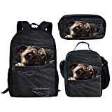 HUGS IDEA Children School Bag Set Denim Pug Black Backpack with Lunch Boxes Pencil Case for Teen Boys Girls
