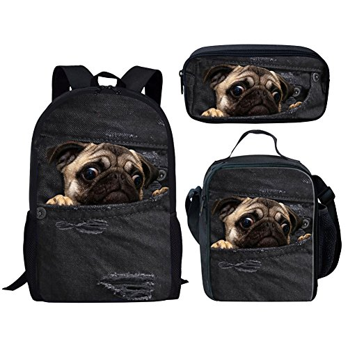 Bag Toy Denim (HUGS IDEA Children School Bag Set Denim Pug Black Backpack with Lunch Boxes Pencil Case for Teen Boys Girls)