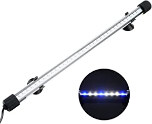 NICREW Submersible LED Aquarium Light, Hidden White with Blue LED Light Stick for Fish Tank, 13.8-inch, 8 W