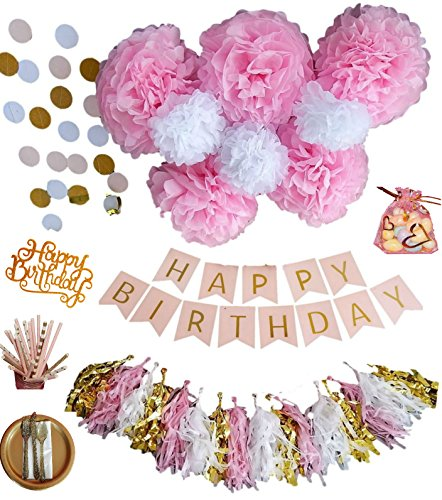 Disney Frozen Crepe Paper (BD Lifestyles BIRTHDAY Party Decorations And COMPLETE PARTY SET in Pink and Gold Includes Cutlery, Plates, Paper Straws, Tablecovers and Napkins -142 Pieces)
