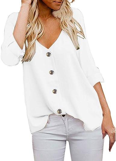 SEWORLD Blusa de Mujer Camisa Suelta de Color Sólido con ...