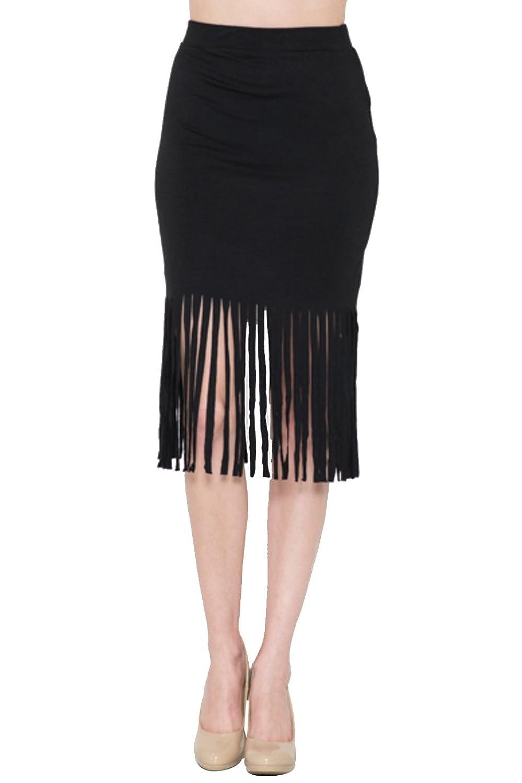 2LUV Women's Fringe Hem Pencil Skirt