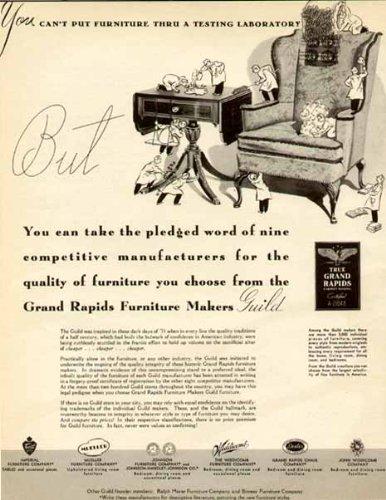 1940 PRE-WAR FURNITURE ADVERTISEMENT BY THE GRAND RAPIDS FURNITURE MAKERS GUILD Original Paper Ephemera Authentic Vintage Print Magazine Ad / Article
