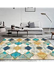 Vintage Area Rug Large Soft Touch Printed Geometric Morocco Floor Mat Large Carpet for Living Room Bedroom