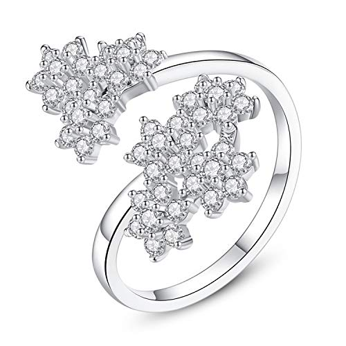 OASIS LAND Jewelry Maple Leaf Zircon Opening Ring Simple Plum Hexagon Ring ()