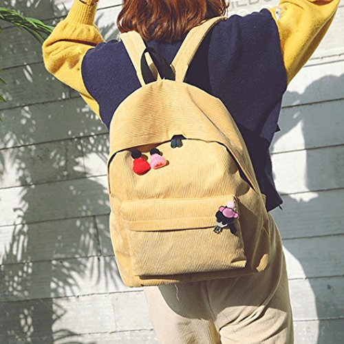 Goodsatar Mujeres Pana Mochila chica escuela Moda Bandolera Mochila bolsas de viaje (Amarillo) Amarillo